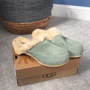 Ugg Fur and Wood Clogs Women's  size 5.5